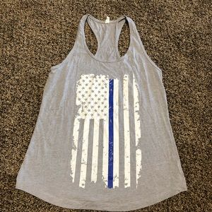 Thin Blue Line Tank Top Police Wife XL